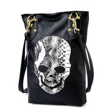2016 New Style Fashion Punk Black Skull Face Designer PU leather Tote Handbags Women's Shoulder Bag Ladies CrossBody Ba(China)