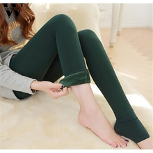 Nov18 Amazing Lady Winter Warm Legging Thickened Winter Super Elastic Fleece Women Leggings Solid Color(China)
