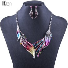 MS1504336 Fashion Jewelry Sets Hight Quality 2 Colors Necklace Sets For Women Jewelry Crystal Unique Feather Design Gifts