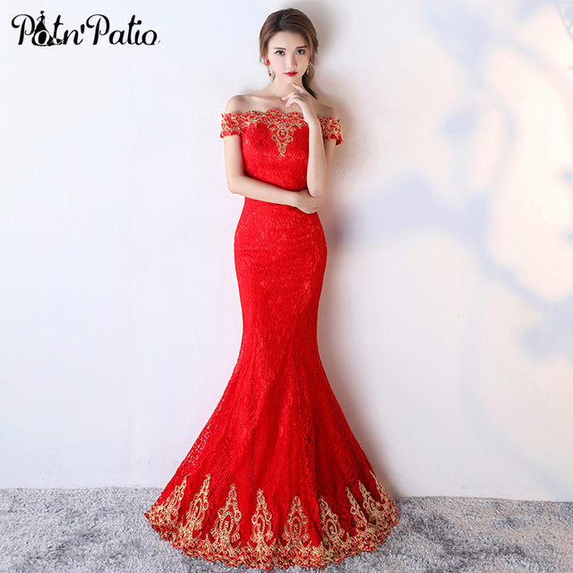 Potn Patio Red Lace Mermaid Dress Elegant Boat Neck Off The Shoulder Evening Dresses Long