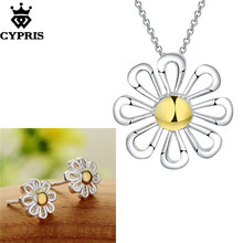 CYPRIS wholesale retail set wedding party bridal party jewelry sets daisy flower fashion silver hot cute earring necklace hot(China)