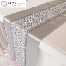Fashion Double Layers Silver Satin and Lace Table Runner  For Party Free Shipping