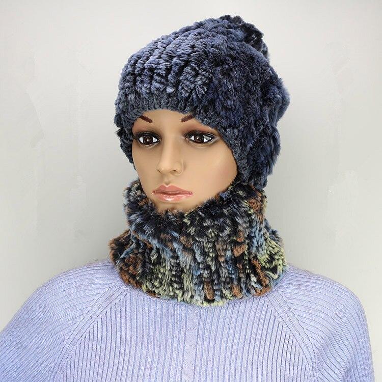 autumn winter knitted fur hat  new arrival fashion blue gray sweet womens scarf of genuine rex rabbit H757Îäåæäà è àêñåññóàðû<br><br>