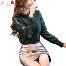 Female Hollow Out Sexy Shirt Women Blouse Long Sleeve Lace Blouses Shirts Women's Top Autumn Spring Office Elegant Clothings(China)