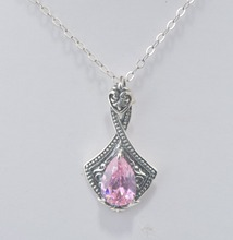 Wholesale healing crystals pink necklace and pendant 925 sterling silver woman/lady/girl pure silver fashion jewelry