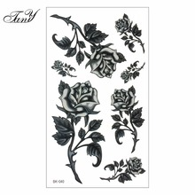 Women Sexy Finger Flash Fake Tattoo Stickers Black White Flowers Rose Design Water Transfer Temporary Tattoo Sticker