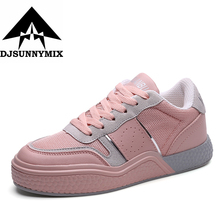 DJSUNNYMIX Brand 2017 women's shoes flats Skateboard Shoes Sneakers outdoor walking white pink Shoes for women(China)