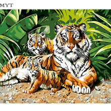High Quality Digital DIY Oil Painting By number Cheap Paintings On Canvas Tiger Family Acrylic Paint 40*50 50x65 60x75cm DIY445