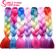 Sallyhair Blue Purple Pink Blonde Colorful High Temperature Synthetic Jumbo Braids Ombre Braiding Hair Extension White Women