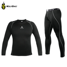 WOLFBIKE Winter Thermal Fleece Base Layer Compression Clothing Underwear Motorcycle Long Sleeve Jersey Pants Tights Tops Set