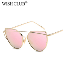 WISH CLUB Fashion Cat Eye Sunglasses Women Brand Fashion Rose Gold Mirror Sun Glasses Unique Flat Ladies Sunglasses Oculos UV400