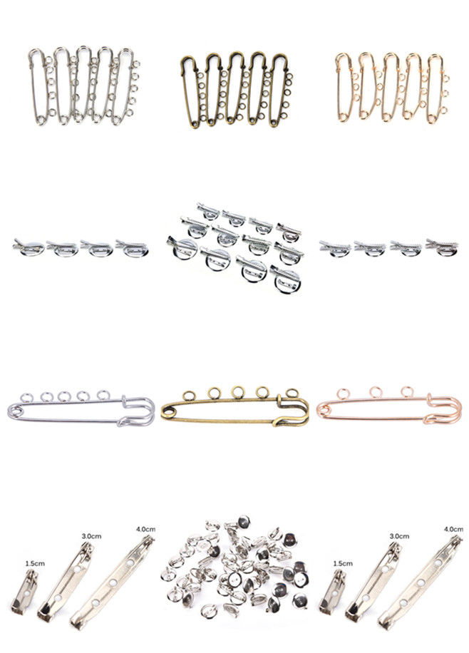 Hot Sale DIY Pins And Brooches For Jewelry Making 10pcs 5 Holes Silver Golden Brooches Base Findings Fit Baby DIY Gifts