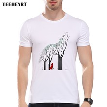 TEEHEART Men's Fashion Short Sleeve  RED RIDING HOOD Printed T-shirts Funny Tee Shirts Hipster O-neck wolf Tops pa993