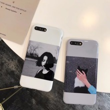 IMD cool cartoon inset girl dog man candy soft gel luxury silicone tpu case for iphone 6 6s 6 s 6plus 7 plus cases phone cover(China)