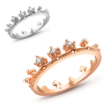 fashion jewelry silver color vintage jewelry aliancas casamento austrian crystal crown rings for women nz290(China)