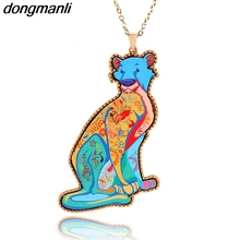 P690 Dongmanli Predator animal leopard necklace color Acrylic alloy necklace Long section Pendant Sweater chain woman
