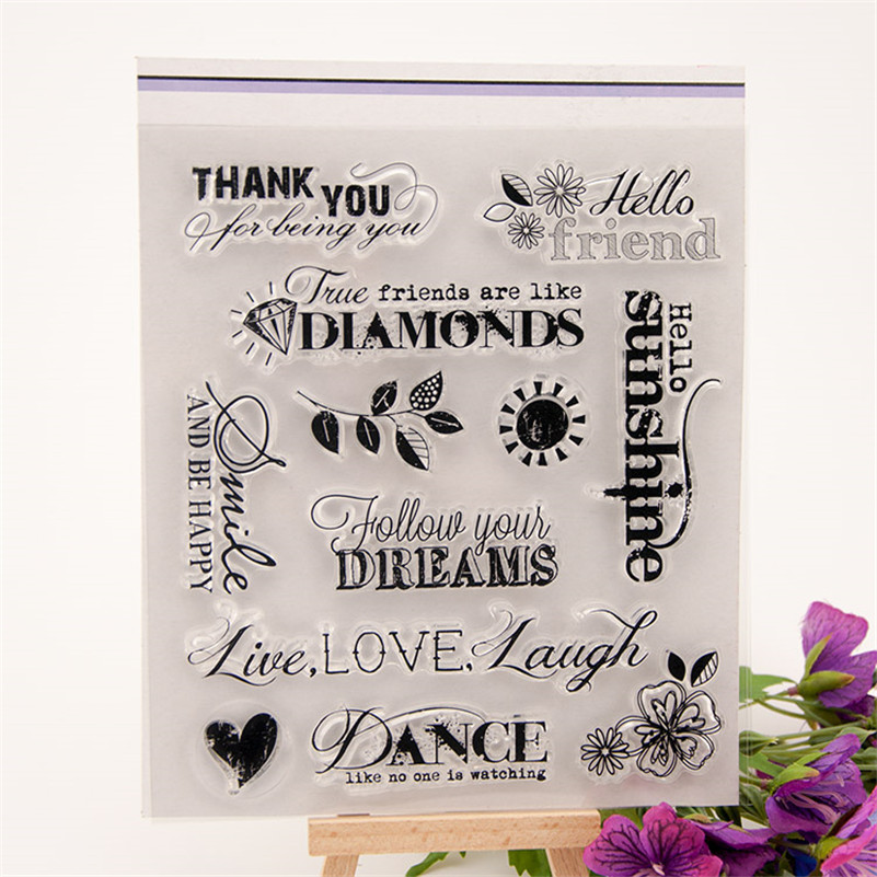 friends thank you letter design Transparent Clear Silicone Stamp Seal for DIY scrapbooking photo album clear stamp  CC-119<br><br>Aliexpress
