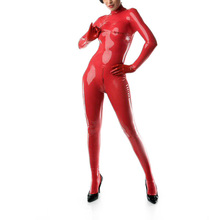 Buy Red color latex fetish zentai catsuit feet&latex gloves back zip latex rubber sexy catsuit breast zip