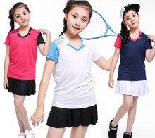 table tennis sportswear,Kid Girl Skirts tenis masculino,polyester fast dry table tennis shirts,Kid badminton Suit, XS-3XL(China)