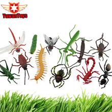 INSECT Set 12PCS In Box Cockroach Flies Ants Centipede Spider Scorpion Caterpillar Collectibl Model Delicate Vinyl Scary Toy(China)