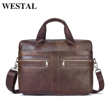 WESTAL Genuine Leather Men Bags briefcases Men's Messenger Bag Cowhide Leather laptop Crossbody Handbag Male Business Bag 2019