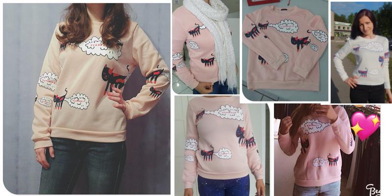 17 New Spring Autumn Sweatshirt Women Tops Plus Size Loose Casual Plus Thick Velvet Cartoon Cat Pattern Sweatshirts Pullovers 3