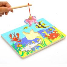 Wood Magnetic Fishing Toy Wooden Fish kids Toys children Educational chrismas gift Puzzle 3D Jigsaw Funny Game Toy(China)