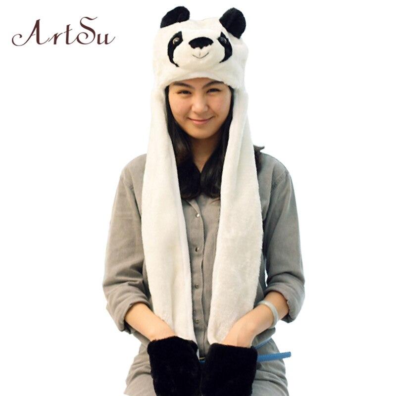 2015 New Brand Autumn Hat For Women Husky Cartoon Panda Plush Hat Ear Cap With Gloves Long Worm Thicker Girls Hats SK80026Îäåæäà è àêñåññóàðû<br><br><br>Aliexpress