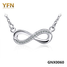 GNX0060 Collares 2016 Genuine YFN 925 Sterling Silver Love Infinity Necklace Women Jewelry CZ Crystal Bowknot Collar Necklace(China)