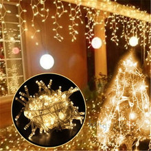 Connectable 5Mx 0.4M 0.6M 0.8M 216 LED Curtain Icicle String Lights Fairy Christmas Lamps Xmas Wedding Party Festival Decoration(China)