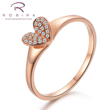 Robira Elegant Whole Heart Ring Fashion White Good Natural Diamond Wedding Jewelry 18K Rose Gold Engagement Promise Rings