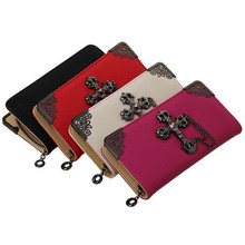 Women wallet purse retro leather wallet with cross on front Long Chain Zip Purses women fashion Handbag Card Holder red RD641821