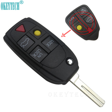 OkeyTech New 4+1 5 Buttons Flip Folding Car Key Shell Replacement Fob for Volvo XC70 XC90 V50 V70 S60 Key Case Remote Car Cover