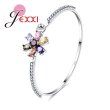 JEXXI Charm Flower Design Wedding Bracelet & Bangles With 925 Sterling Silver Top Quality Shiny CZ Fashion Accesories