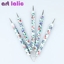 High Quality Flower Prints 5 Pcs 2 Way Dotting Tools Set Spot Swirl Marbleizing Drawing Polish Dotter Pen Nail Art(China)