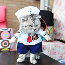 Funny Costume for Small Cat Sailor Policeman Solider Uniform Pet Cat Costumes clothes Dog Clothing Suit + Hat(China)
