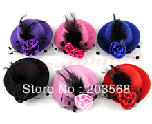 Ladys Mini Feather Rose Top Hat Cap Lace fascinator Hair Clip Costume Accessory