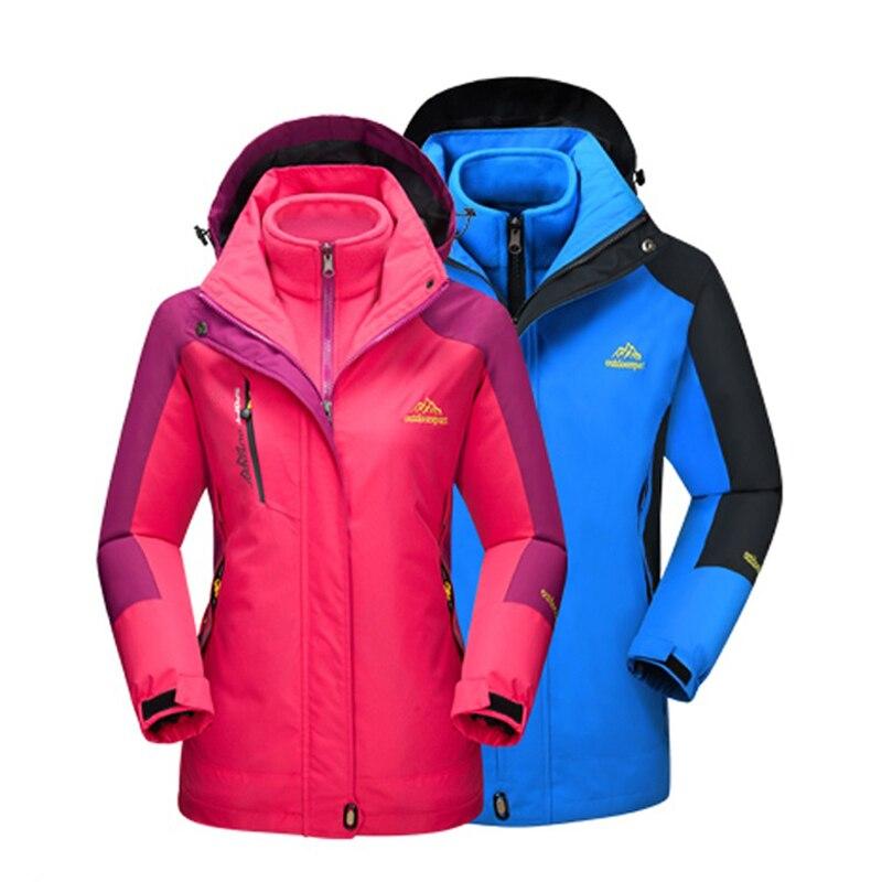 2017 Men Women Winter Inner Fleece Warm 2 Pieces Outdoor Sports Brand Coats Hiking Camping Trekking Skiing Female Jackets MA062<br>
