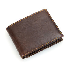 Vintage Chocolate Genuine Leather Men Wallets For Dollars Cowhide Man Purse Credit Card Holder #M8108