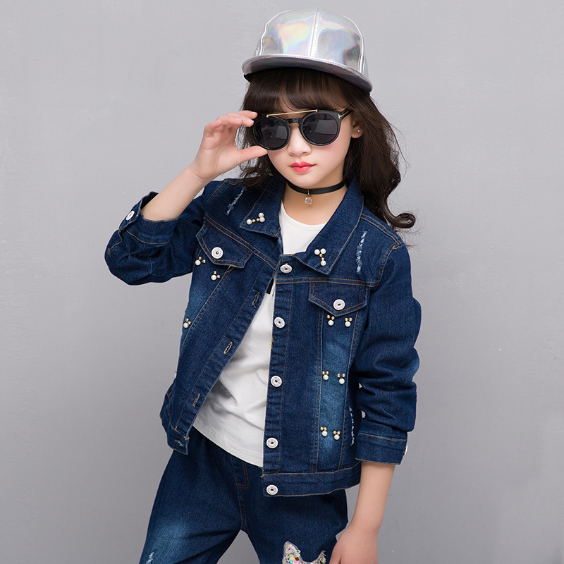 Europe&amp;America 2017 New Cotton costume Autumn&amp;Spring gril Children suit section denim two-piece suit 4 5 6 7 8 9 10 11 12 Years <br>