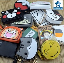 anime totoro/poke ball/one piece/Neko Atsume wallet kids cartoon coin purse wallet boys girls keychain leather pu small purse