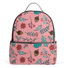 Leaves Flower Pattern Pink Backpack Beautiful Blooms Campus Bag High Quality Travel Bags Mochila Feminina