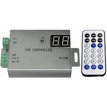led full color controller,1 port control 4096 pixels,programmable,remote control,support WS2811,WS2812,APA102,DMX512,etc.