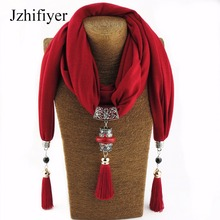 Jzhifiyer women alloy pendant scarf necklace Wrap Jewelry feminina fashion cotton scarves necklace women shawl long