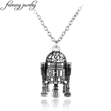 Star wars 7 Robot R2D2 Pendant necklace Fashion Vintage Silver Gold Alloy Figures Pendant Accessories For Women And Men Fans(China)