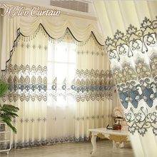 Helen Curtain New Arrive Embroidered Set Curtains Luxury European Valance  Curtains For Living Room White Sheers