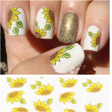 Hot Sale 1 Piece! Yellow Sunflower Design Fashion New style Water Transfer Stickers DIY Nail Art Decorations Nail Decal Tools
