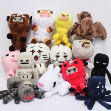 Minecraft Plush 14pcs/set 15-25CM Spider plush Toys Black Enderman Creeper Plush baby Sleeping octopus cow Ghast Ocelot sheep