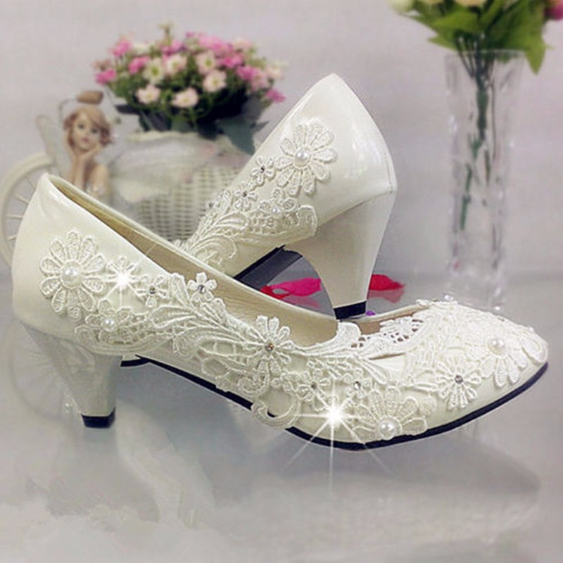Low Heel Rhinestones Bridesmaids Women Shoes New White Ivory Womens Lace Bead Crystal Wedding Shoes Bridal Heel Sexy Pumps<br><br>Aliexpress