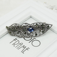 High Quality Alloy Leaf Shape Hairpins Fine Rhinestone And Crystal Spring Hairpins Ponytail Holder Bow Hairgrips Women Ladies